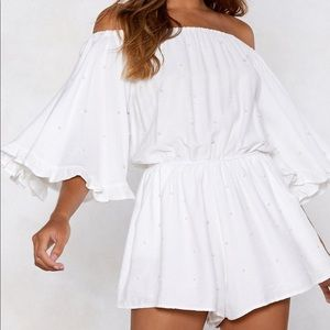 White Off-The-Shoulder Romper with Pearl Detail
